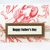 Happy Father's Day Card - Father's Day Card - Nautical Card - Lobster - Card for Dad - Red and Ivory Nautical Card - Fun and Bright