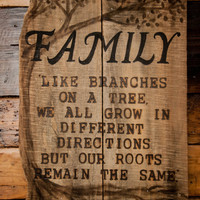 Rustic Family Sign, CUSTOM, on pallet wood, wood Burned Quote, Indoor/Outdoor, Cottage Chic, Country Living, beach house