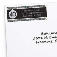 Adult 40th Birthday - Personalized Birthday Party Return Address Labels - 30 ct