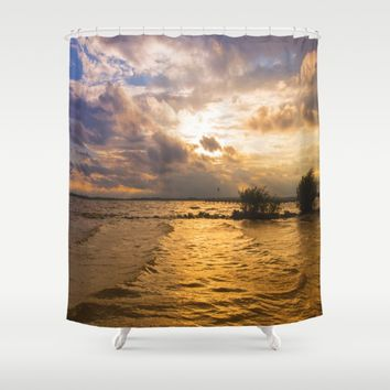 Weather over the lake Shower Curtain by Tanja Riedel