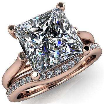 Ophelia Princess/Square 4 Prong Cathedral Ring