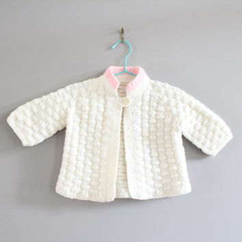 Hand Knitted Baby Girl Cardigan Size 6 to 12 M #k008a