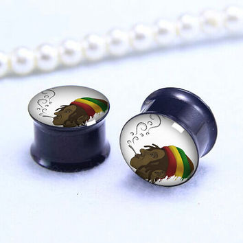 Pairs   Smoking   Plug  ,Double Flare Tunnels Ear Plugs, Black Titanium ear plugs ,0g,00g ,1/2, 9/16, 5/8, 3/4, 7/8,