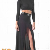 Indie XO Black Long Sleeve High Neck Crop Top Slit Maxi Skirt Faux Leather Two Piece Dress - Just Ours!