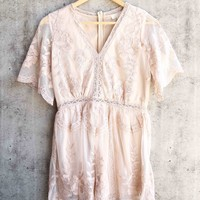 in the open air - romper with contrasting embroidery detailing - nude