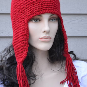 Bozite Wine Red Ear Flap Hat with Tassels Hand Crocheted Mens by KnotWyrd