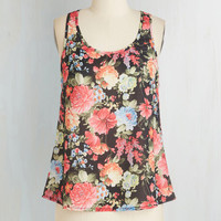 Mid-length Sleeveless Garden Gala Top in Black by ModCloth