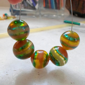 Lampwork Beads, Stripes Handmade Hollow Glass Beads, Hadmade Supplies for Lampwork Jewelry