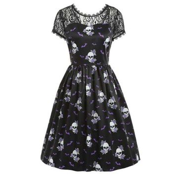 Women Dress Elegant Patchwork Lace Sleeve Skull Print