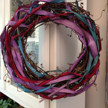 Spring Woven Wreath With Colorful Dried Grass