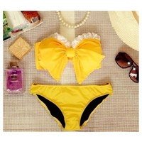 Lace bow top Bikini - Say hello sweetheart. What a cute way to splash into summer!