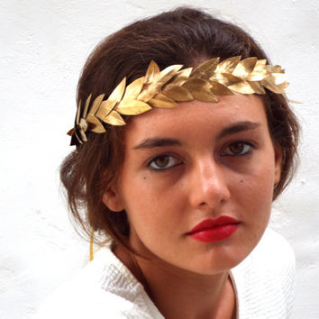 Golden leaf Crown, Gold Headband, Woodland Headpiece,  Greek Goddess, Flower crown, Hair Wreath