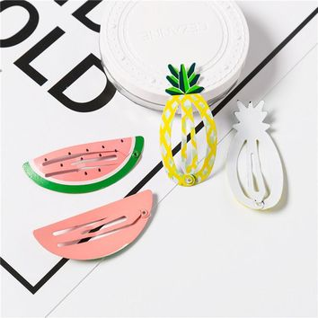 2pcs Fashion Children Novelty Fruit Watermelon Pineapple Hairpins Hair Accessories For Girls Hairclip Barrette Candy Color Clip