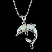 INLAY OPAL HAWAIIAN DOLPHIN PENDANT STERLING SILVER 925