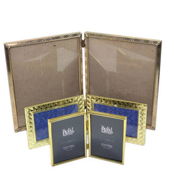 Vintage Brass Picture Frames Brass Bi Fold Picture Frames Double Picture Frames Wedding Picture Frames Set of 3
