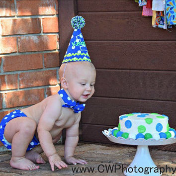 Boys Cake Smash Outfit - Blue Dots - Diaper Cover, Bow Tie & Deluxe Birthday Hat - Birthday Set