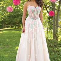 Jovani 24008 Champagne Ball Gown with Colored Lace Applique Prom Dress Wedding