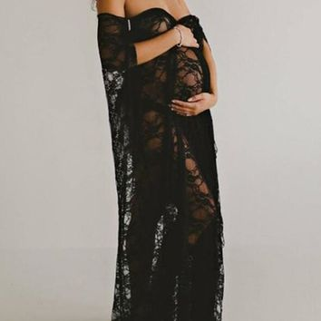 New Black Floral Lace Sashes Cloak Babyshower Elegant Party Maxi Maternity Dress