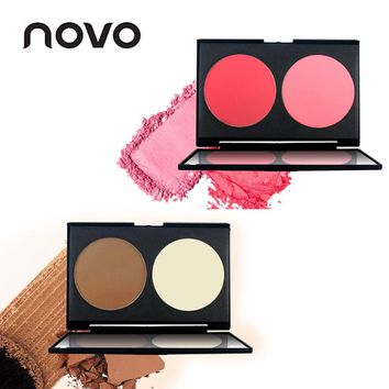 NOVO Brand Face Matte Blush Powder Palette Make Up Bronzer Rouge Cheek Mineral Blusher Set Makeup