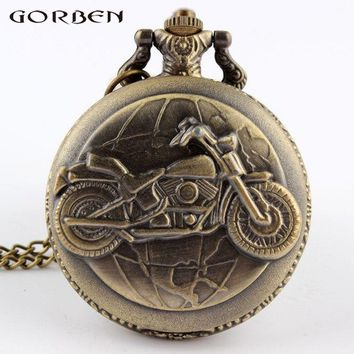 Cool Motorcycle Steampunk Vintage Pocket Watch Quartz Pendant Watch Necklace With Chain For Men Women Gift Motor Estacionario
