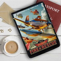 Disney Planes Fire And Rescue Quotes Leather Passport Wallet Case Cover