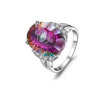 13ct Natural Rainbow Fire Mystic Topaz Engagement Ring Genuine Solid 925 Sterling Silver Vintage