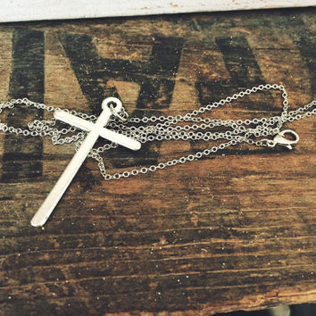 Large Silver Cross Charm Necklace on 17 inch Silver Chain Country Rustic