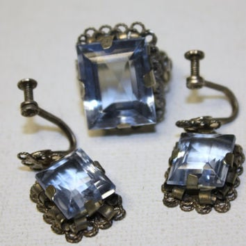 Art Deco Ring Earring Blue Crystal Sterling Mexico by patwatty