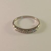 Art Deco 14K Diamond Wedding Ring, White Gold Band, Channel Set