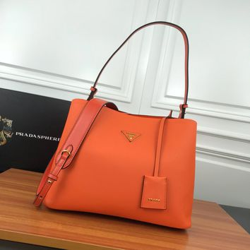 HCXX 19June 511 Prada Saffiano Leather Remove shoulder straps Fashion Shopping Bag Handbag orange