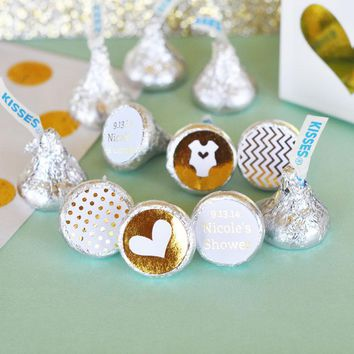 Personalized Metallic Foil Hershey's Kisses Labels Trio (Set of 108) - Baby