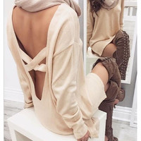 Fashion cross backless knit dress