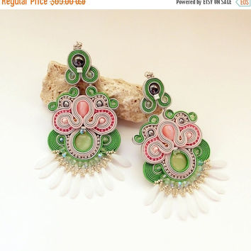 On SALE Soutache dangle earrings. Extra long soutache handmade earrings.