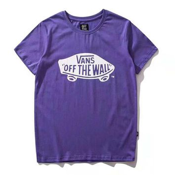 Vans Fashion New Bust Letter Truck Print Women Men Short Sleeve Top Shirt Purple