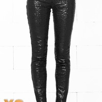 Indie XO Get Your Sparkle On Black Sequin Stretch Leggings with Elastic Waistband
