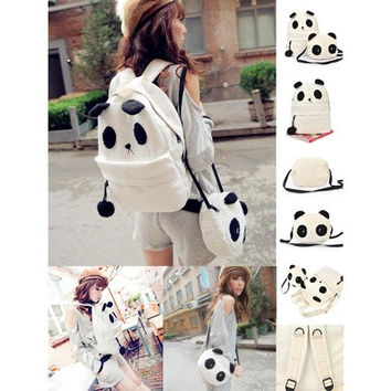 Panda Backpack Kawaii Cute White Black Bag Purse Animal Fluffy Fuzzy Soft Ears Pom Poms Furry Zippers Canvas (Color: White) (Color: White) [8833525388]