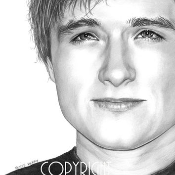 Josh Hutcherson, Peeta Mellark, The Hunger Games, Pencil Drawing, Portrait, 8x10 Art Print, by Wendy Hogue Berry