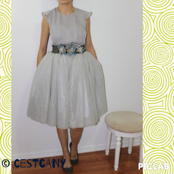 PLUS SIZE Cassie Light Gray Tulle Skirt, Layered Puffy Princess Knee Legth Midi Tutu