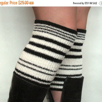 Boot Cuff Boot Toppers Leg Warmers Boot Socks Cable Striped Black White Multicolored