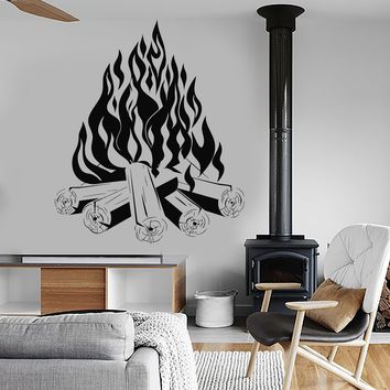 Vinyl Wall Decal Bonfire Campfire Camping Fire Fireplace Stickers Unique Gift (ig3817)
