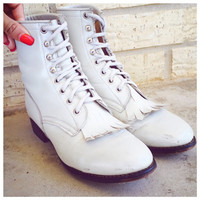 Vintage Pearl white lace up Justin Boots womens size 7