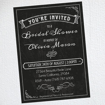 Chalkboard Bridal Shower Invitation / Bridal Shower Invitation / Print At Home