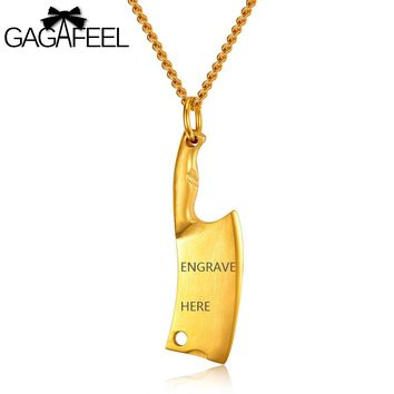 GAGAFFEL Laser Engrave Necklace Pendant Customized Unique Diy Logo Stainless Steel Kitchen Knife Pendants Men Jewelry 4 Colors