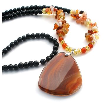 Carnelian & Black Onyx bead Necklace 28""