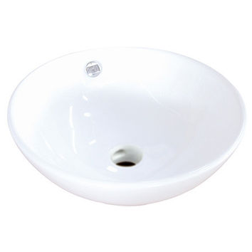 EV4129  Perfection White China Vessel Bathroom Sink with Overflow Hole