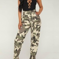 New Light Green Camouflage Belt Pockets High Waisted Overalls Casual Long Pant