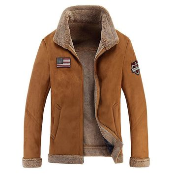 High Quality Men Sheep Suede Motorcycle Jacket Brown Full Lined Soft Faux Leather Male Coat Cashmere Warm Jackets Men