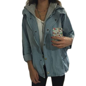 Blue Hooded Drawstring Boyfriend Denim Jacket Jean Swish Pockets Two Piece Outerwear Jeans Jacket Women Long Sleeve Coat 11S
