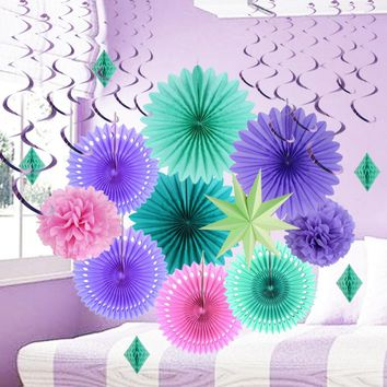 15pcs Purple Mermaid Party Decoration Set Tissue Paper Fans Pom Pom Flowers Hoenycomb Diamond Little Princess Baby Girl Birthday