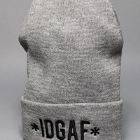 1st Class IDGAFI dont give a fck Beanie Gray : Karmaloop.com - Global Concrete Culture